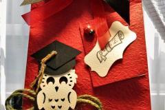 Bomboniera busta per laurea con civetta e decorazioni a tema