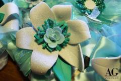 Bomboniera per 30 anni di matrimonio con fiore colore tiffany grande