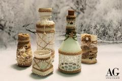 Bottiglie e vasetti decorati con pizzo yuta e cordoncino
