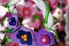 Coroncina in tessuto con fiori in gomma crepla