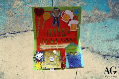 Biglietto auguri compleanno personalizzato,  con interno a scomparti segreti e labirinto, fatto a mano