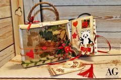 Biglietto di buon compleanno con scomparti a sorpresa e borsetta contenitrice, tutto realizzato a mano