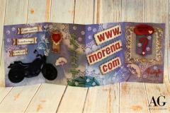 Biglietto personalizzato formato da quattro pagine, dedicato ad una persona con passione per la moto, fatto e dipinto a mano
